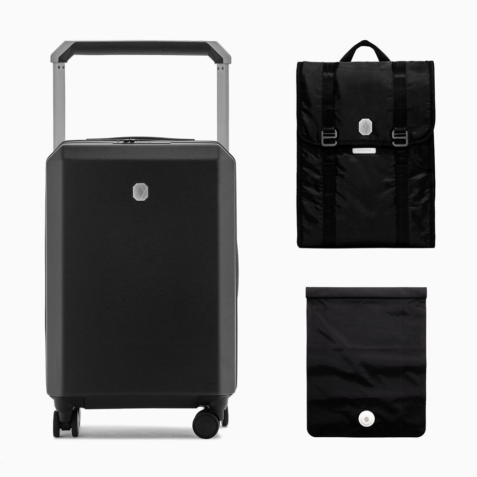 PHOENX: PHOENX Tela 40 Cabin Luggage Travel Kit Black Sand
